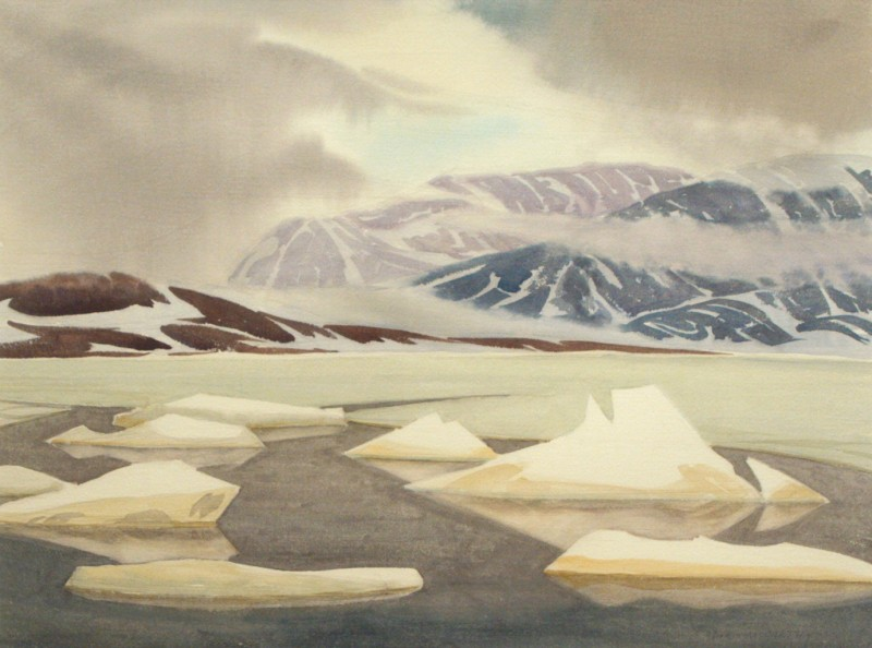 Cloud Scarves on the Mountains, Arctic, Doris McCarthy, 1981