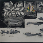 Gerald Ferguson, Tulips, Doorstops, Five Fish and a Grey Board, 1992