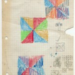 "1971,  coloured pencil and ink on graph paper, 11"" x 8.5"""