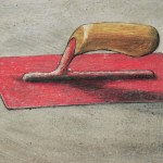 William Kurelek, Pink Trowel 1975  mixed media on masonite ca-8-x14in