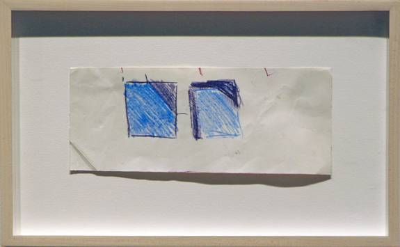 "Guido Molinari, Carres Blues, 1969 pastel on paper, 39"" x 92"""