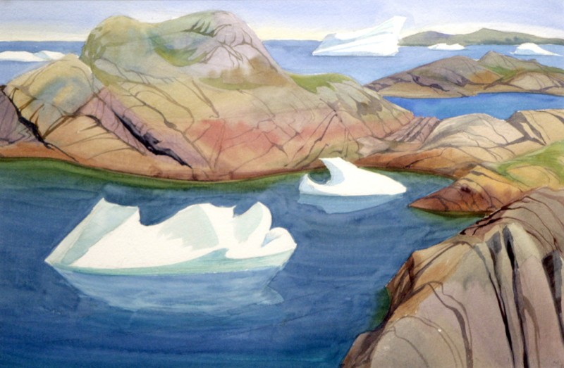 "Icebergs among the Islands, Doris McCarthy, 1995, watercolour on paper, 15"" x 22"""