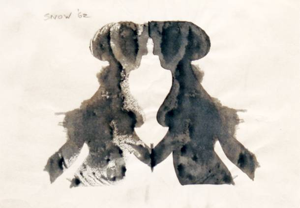 "Michael Snow, Ink Blot #2, 1962, ink on paper, 5"" x 7"""