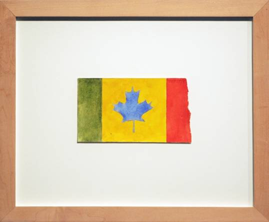 "Greg Curnoe, Untitled, Canadian Flag, 1980, stamp pad ink, guache on paper, 4"" x 7"""