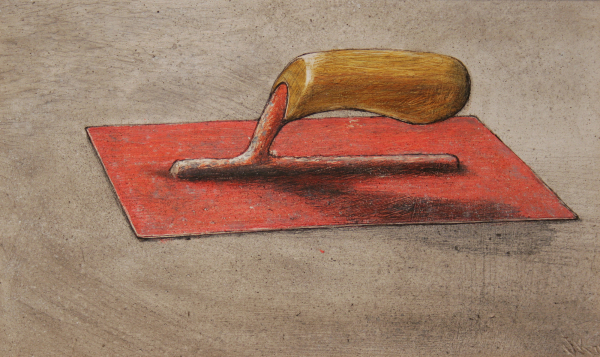 "William Kurelek, Pink Trowel,  1975, mixed media on masonite, 8"" x 14"""