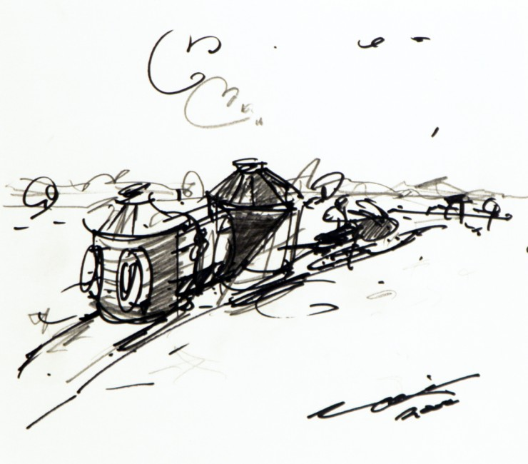"Kim Adams, Fish Hut,  2004, ink on paper, 10"" x 11"""