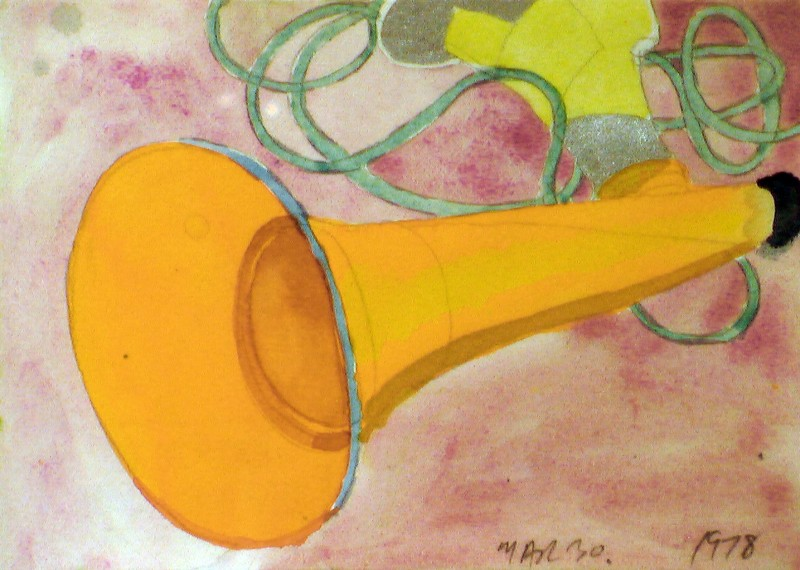 "Greg Curnoe. Untitled (horn), 1978, watercolour on paper, 6.5"" x 5"""