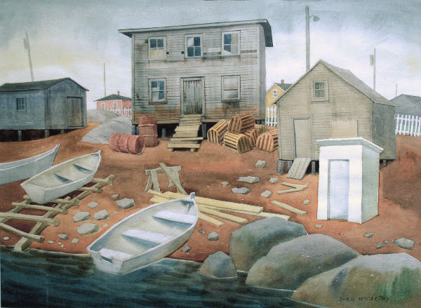 "Daniel's Harbour, Doris McCarthy, 1980, watercolour, 22"" x 30"""