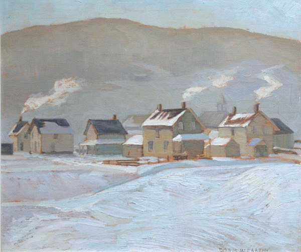 "Haliburton, New Years Eve Day, Doris McCarthy, 1940, oil on panel, 12"" x 13.5"""