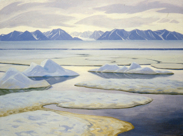 "Pond Inlet looking towards Bylot, Doris McCarthy, 1983, oil on canvas, 36"" x 48"