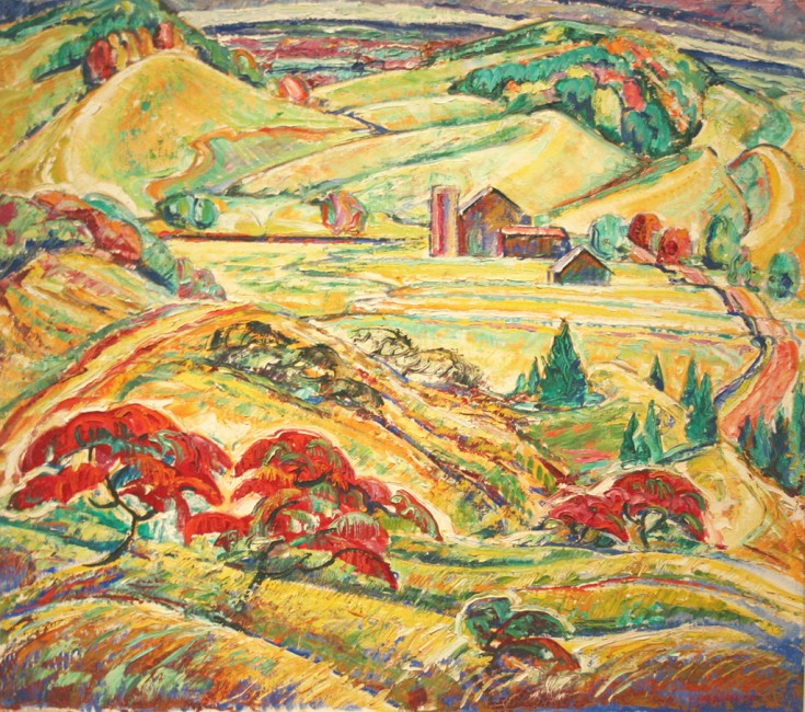 "Hills at Dagmar (aka Farm in Dagmar Hills), Doris McCarthy, 1948, oil on canvas, 24"" x 27"""