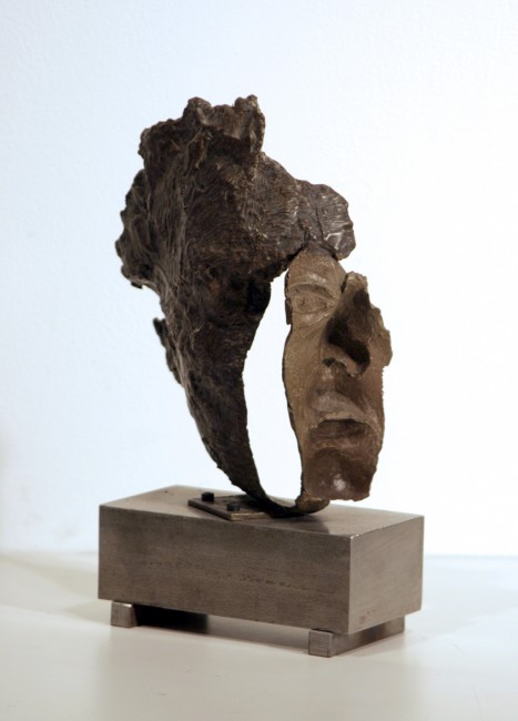 "Evan Penny,  Study no.4 for Mask,  1989, bronze, 10"" x 7"" x 5"""
