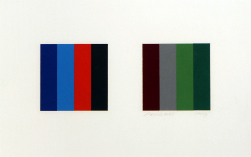 "Jaan Poldaas,  Twelve Colour Pair Study 2,  1996, enamel on paper on board, 9"" x 15"""