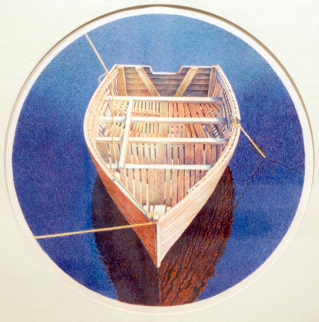 "Mary Pratt, Tied Boat, 1980, Serigraph, 15"" diam."