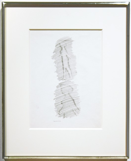 "Michael Snow,  Appearance, 1963, graphite on paper, 10"" x 7.5"""