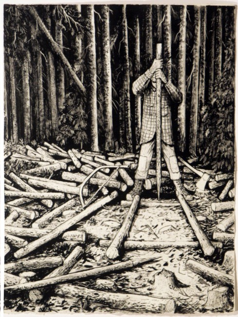"William Kurelek, Building a Cord Cradle, 1973, original stone lithograph, ed. 6/50, 16.75"" x 13"""