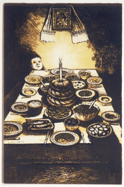 "William Kurelek, Ukrainian Christmas Eve Feast,   1973, original stone lithograph, edition of 50, 12"" x 8"""