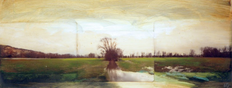 "David Bierk, Giverney Trees to Monet, 1989, painted photomontage, 6.5"" x 15.5"""