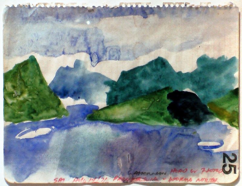 Greg Curnoe, Pangnirtung Looking North, 1971, watercolour, stamp pad ink & pencil