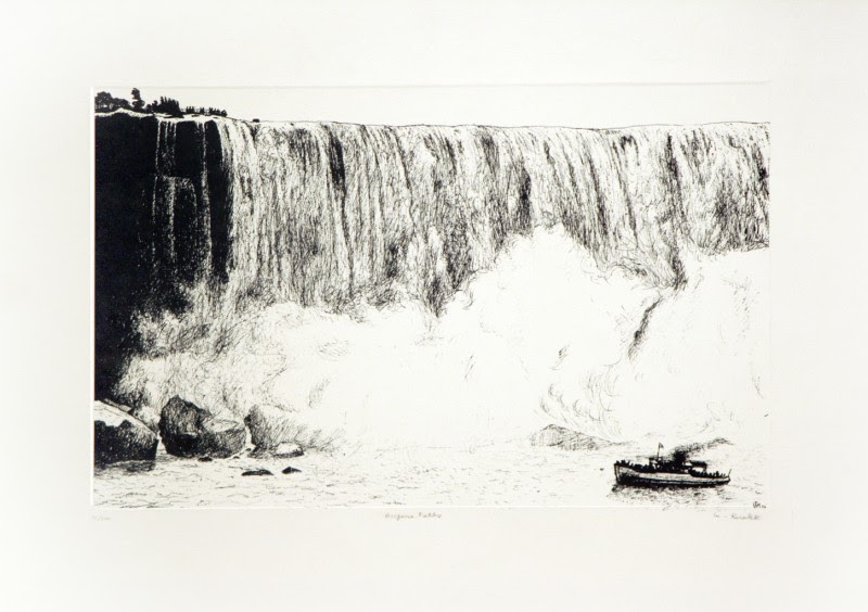 "William Kurelek, Niagara Falls, 1973, original stone lithograph, ed. 21/200, 9"" x 15"""