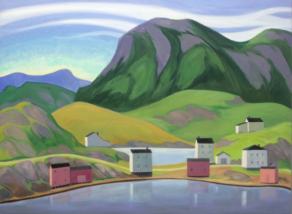 "Doris McCarthy, Houses on the Neck, Salvage, Nfld, 1999, oil on canvas, 36"" x 48"""