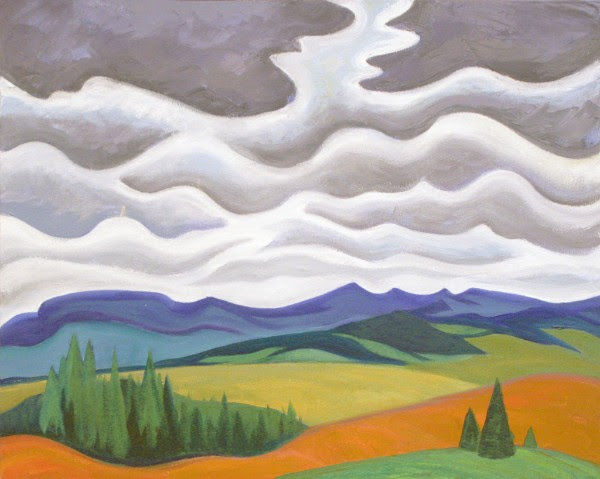 "Doris McCarthy, Storm Clouds in the Foothills, 1999, oil on canvas, 24"" x 30"""