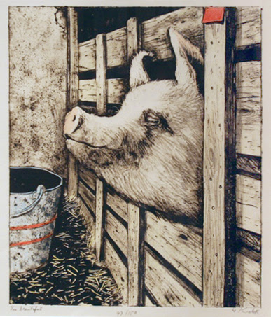 "William Kurelek,   I'm Beautiful, 1976, original stone lithograph,  13"" x11"""