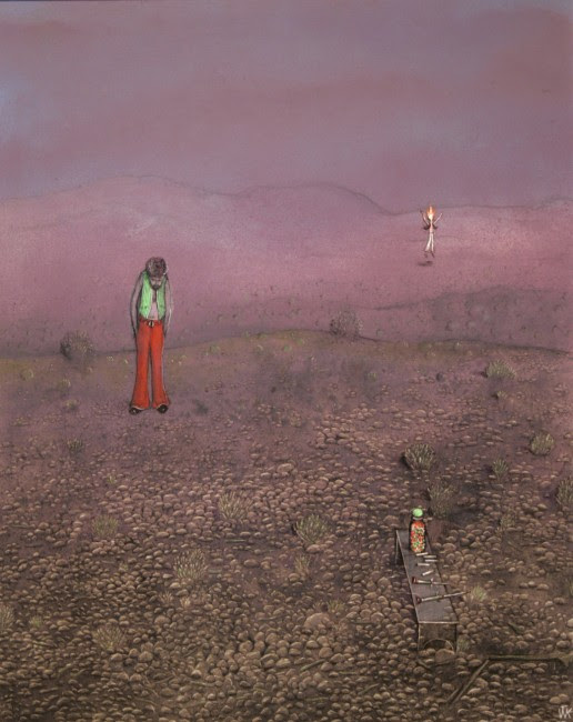 "William Kurelek, Temptation in the Desert Series, Drugs, 1975, oil on masonite, 20"" x 16"""