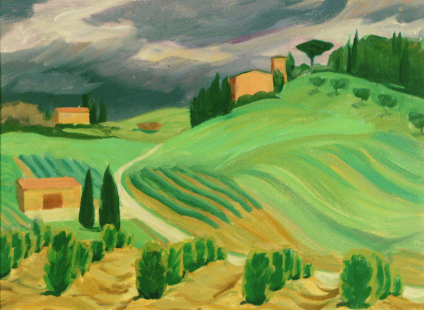 "Doris McCarthy, Storm Coming to the Tree Farm, 2000, oil on panel, 12"" x 16"""