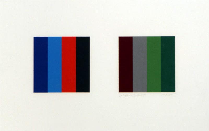 "Jaan Poldaas, Twelve Colour Pair Study 2, 1996, collage, 9"" x 15"""
