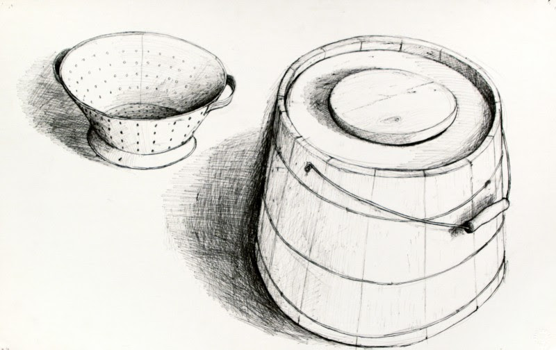 """William Kurelek, Cottage Cheese Strainer and Cucumber Bucket, ink on paper, ca 1973 , 14.5"""" x 23"""""""