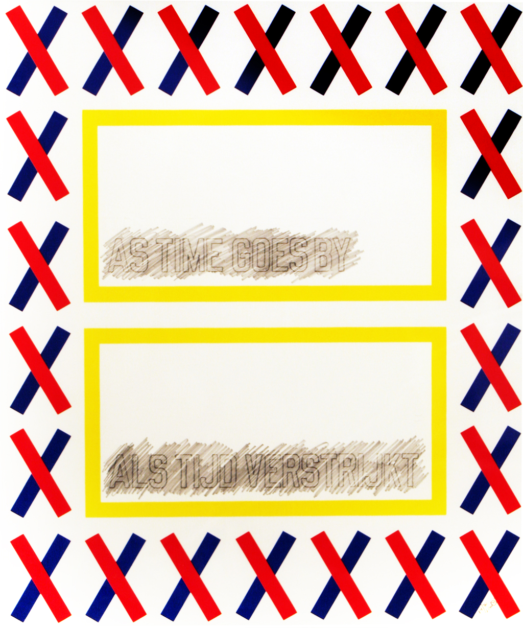 """Lawrence Weiner, As Time Goes By, 14/30, 1993, Screenprint with invisible ink and pencil addition, 22 1/16"""" x 18 1/2"""", published by Vous Etes Ici Editions, Amsterdam"""